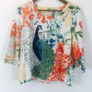 Chico's Peacock Design Half Sleeve Blouse Size 1